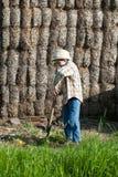 Het kind kleedde zich als landbouwer met hooivork Royalty-vrije Stock Afbeeldingen