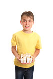 Het kind met velen stelt voor stock afbeelding