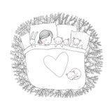 Het kind slaapt met haar speelgoed Stock Fotografie
