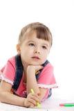 Het kind trekt met gevoelde pen en droom Royalty-vrije Stock Foto's