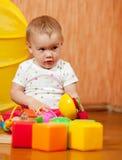 Het kind van éénjarigen met speelgoed Royalty-vrije Stock Afbeeldingen