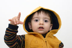 Het Kind van de jongen in de Kleren van de Daling Stock Afbeelding
