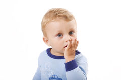 Het kind van de verrassing dat op wit wordt geïsoleerd Stock Foto's