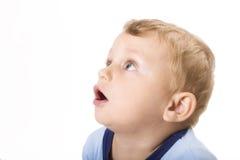 Het kind van de verrassing dat op wit wordt geïsoleerd0 Royalty-vrije Stock Foto