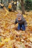Het kind van het geluk het spelen in bos stock fotografie