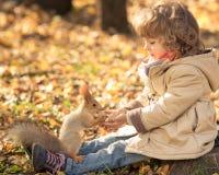 Het kind voedt een kleine eekhoorn Stock Foto