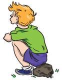 Het kind zit op een rots royalty-vrije illustratie