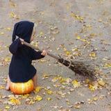 Het kind in zwart tovenaar of heksenkostuum zit op pompoen en bereikdalingsgebladerte, vierkant kader stock fotografie