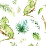 Het kinderdagverblijf van babydieren isoleerde naadloos patroon Tropische de stoffentekening van waterverfboho, leuke kind tropis royalty-vrije illustratie