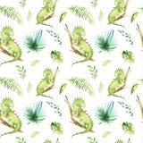Het kinderdagverblijf van babydieren isoleerde naadloos patroon Tropische de stoffentekening van waterverfboho, leuke kind tropis stock illustratie