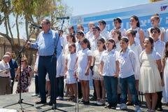 Het kinderenrefrein treft te zingen voorbereidingen Stock Foto