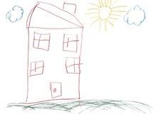 Het kinderlijke hand getrokken beeld van het kleurpotlood Stock Foto's