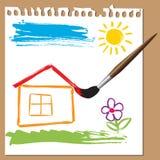 Het kinderlijke schilderen - huis Stock Foto