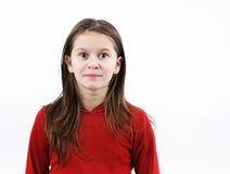 Het kindmeisje staart vooruit Stock Fotografie