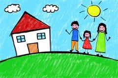 Het Kindtekening Uit de vrije hand van het familiehuis Stock Fotografie