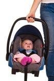 Het kindzitting van de zuigeling in autozetel Royalty-vrije Stock Afbeelding