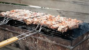 Is het kippen smakelijke vlees gebraden bij de grill stock videobeelden