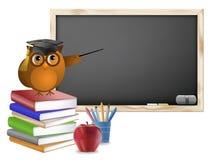Het klaslokaal met Bord boekt Pennen en Appel Royalty-vrije Stock Afbeelding