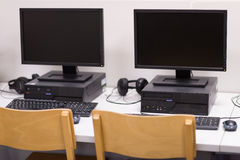 Het klaslokaal van de computer Stock Foto's