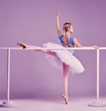 Het klassieke ballerina stellen bij balletstaaf stock afbeeldingen