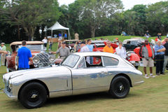 Het klassieke Britse sportwagen drijven op gras Royalty-vrije Stock Fotografie