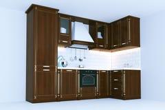 Het klassieke houten 3d keukenmeubilair geeft terug Royalty-vrije Stock Fotografie