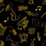 Het klassieke naadloze patroon van het muziekmateriaal Stock Fotografie