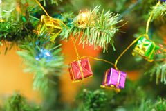 Het klatergoud van de kerstboom Royalty-vrije Stock Foto's