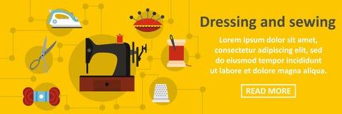 Het kleden zich en het naaien banner horizontaal concept Stock Afbeelding