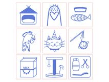 Het klein leven van illustratiepictogrammen van katten royalty-vrije illustratie