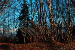 Het kleine blokhuis in het de herfsthout stock afbeelding