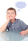 Het kleine jongen denken Royalty-vrije Stock Afbeeldingen
