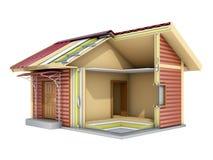Het kleine kaderhuis in besnoeiing 3D Illustratie Royalty-vrije Stock Fotografie