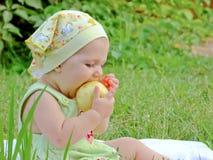 Het kleine kind bij een picknick Royalty-vrije Stock Fotografie