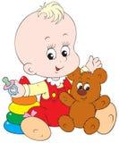 Het kleine kind spelen met zijn speelgoed stock illustratie