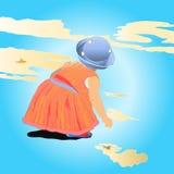 Het kleine meisje spelen op wolken Stock Foto's