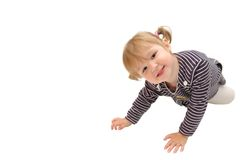 Het kleine mooie meisje kijkt vooruit Stock Fotografie