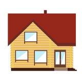 Het kleine oranje huis op witte achtergrond Stock Fotografie