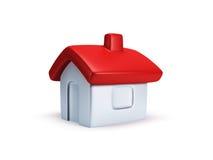 Het kleine symbolische 3d huis geeft terug Stock Afbeeldingen
