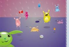 Het kleine vrolijke schepselen springen Stock Afbeeldingen