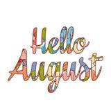 Het kleinhandelsbericht van Hello August Text Royalty-vrije Stock Fotografie