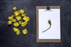 Het klembord met en aPetals van geel namen op zwarte achtergrond toe V Stock Afbeeldingen
