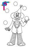 Het kleuren beeld met clown Stock Afbeelding