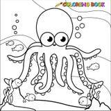 Het kleuren boek onderwateroctopus royalty-vrije illustratie