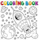 Het kleuren boek ruimtethema 1 stock illustratie