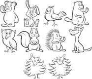 Het kleuren bosdieren van het boek de leuke beeldverhaal Stock Afbeelding