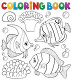 Het kleuren de vissenthema 1 van het boekkoraal Stock Foto