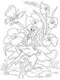 Het kleuren de zitting van paginathumbelina op een bloem royalty-vrije illustratie
