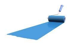 Het kleuren door een blauwe verf vector illustratie