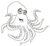 Het kleuren gelukkige octopus vector illustratie